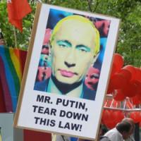 Российский протест на гей параде в Берлине 2013