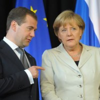 Медведев и Меркель Выступление в Ганновере